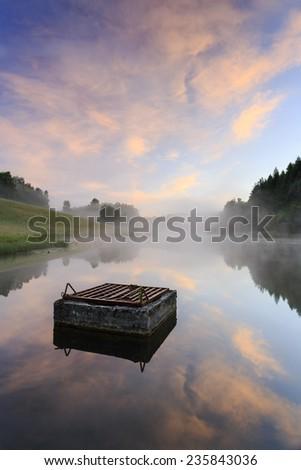 Morning sunrise in north Poland.Pomerania province/Morning misty sunrise - stock photo