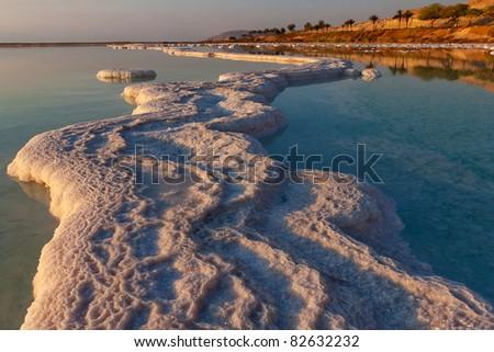 morning sunshine on coast Dead sea - stock photo