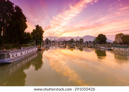 morning time view of Jhelum river at Srinagar, kashmir, India