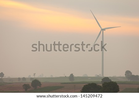 Morning time view wind turbine power producer at Nakornratchasima province, 2.3 MWatt per one - stock photo