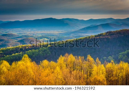 Morning view from Skyline Drive in Shenandoah National Park, Virginia. - stock photo