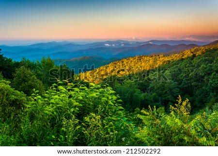 Morning view from the Blue Ridge Parkway in North Carolina. - stock photo
