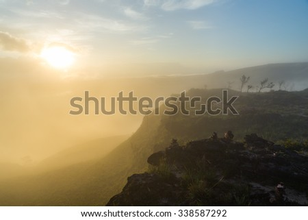 Morning view from the Oso viewpoint in Canaima National Park, Venezuela. - stock photo