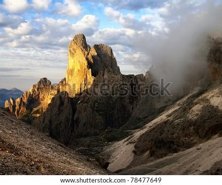 morning view of cima della madonna in pale di san martino - dolomiti italy - stock photo