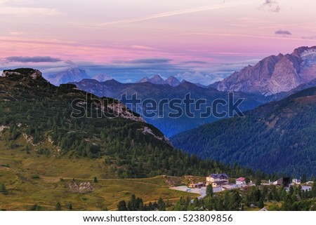 Morning view of Dolomites, Italy