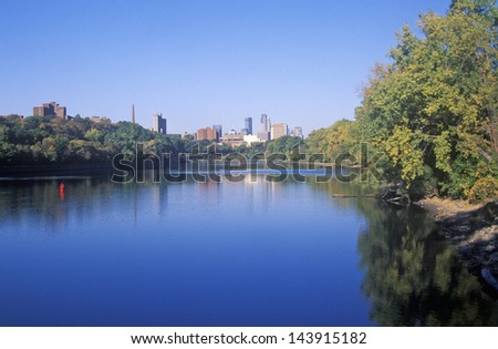 Morning view of Minneapolis skyline from Interstate 94, MN - stock photo