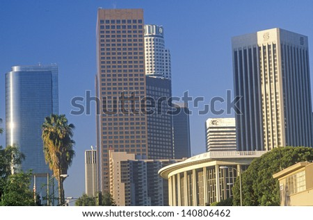 Morning view of new Los Angeles skyline, Los Angeles, California