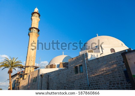 Morning view of the  ancient mosque in old Jaffa, Israel - stock photo