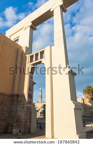 Morning view of the  ancient mosque via arc in old Jaffa, Israel
