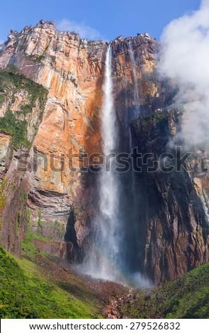 Morning view of the Angel Falls ( Salto Angel ) is worlds highest waterfalls (978 m) - Venezuela , Latin America  - stock photo