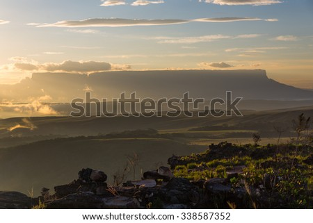 Morning view of the Kukenan and Roraima tepuy from the Oso Viewpoint in Canaima National Park, Venezuela. - stock photo