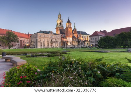 Morning view of the Wawel cathedral and Wawel castle on the Wawel Hill, Krakow, Poland. - stock photo