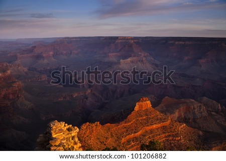 Morning view of Yaki Point.  This overlook is on the South Rim of Grand Canyon National Park - stock photo
