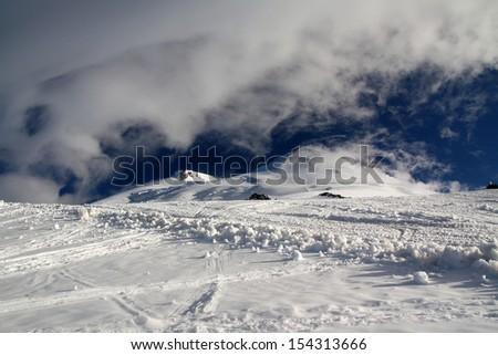 Morning view on Elbrus mountain - stock photo