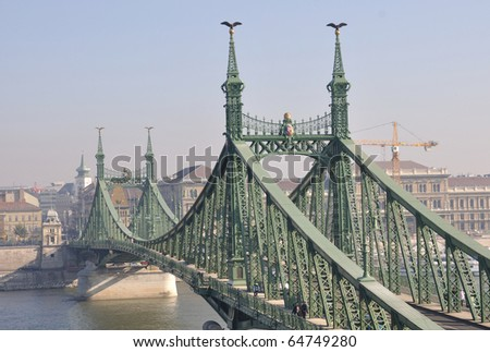 Morning view on freedom bridge on danube river in Budapest, Hungary - stock photo