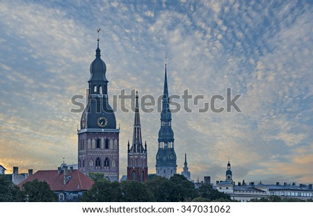 Morning view on old city of Riga. In 2014, Riga was the European capital of culture and famous city of medieval architecture