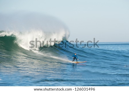 MORO BAY, CALIFORNIA-JANUARY 20:Greg Long surfing on a classic wave during the Maverick Invitational Surfing event, January 20, 2013  in Moro Bay, California.