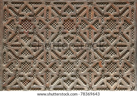 Morocan woodwork details - close up - stock photo