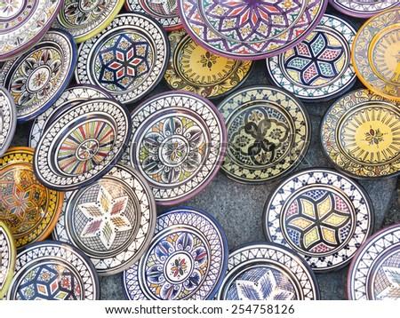 Moroccan ceramic sale in outdoor market - stock photo
