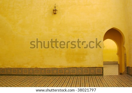 Moroccan entrance,  Arabic style arch - stock photo