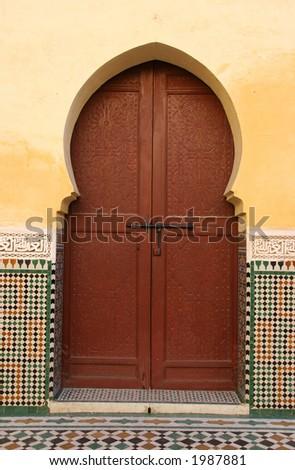 Moroccan entrance (2), door way, entry, exit, pattern - stock photo