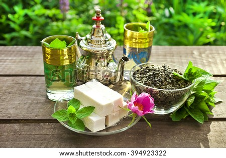 Moroccan mint tea - stock photo
