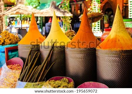 Moroccan spice stall in marrakech market, morocco - stock photo