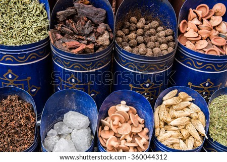 Moroccan tea and Sandal wood for sale in the souk In Marrakesh - stock photo