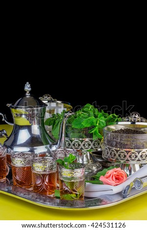 Moroccan tea glasses and biscuit - stock photo