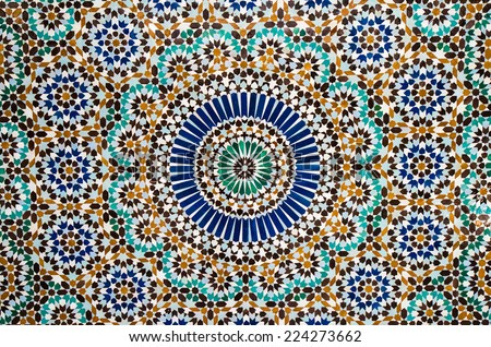 moroccan tile background - stock photo