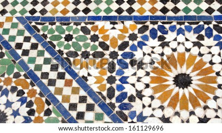 moroccan tile mosaic  - stock photo