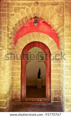 Moroccan traditional entrance door / gate - stock photo