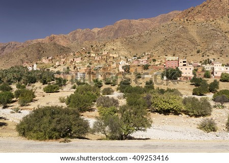 Moroccan village in the Anti-Atlas mountains, Morocco, Africa - stock photo
