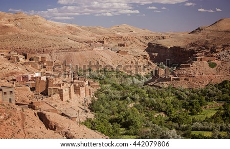 Moroccan village in the Atlas mountains, Morocco, Africa  - stock photo