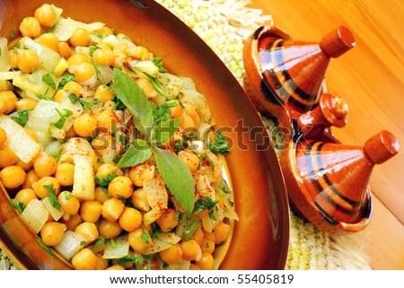 Moroccan warm chickpeas salad - stock photo