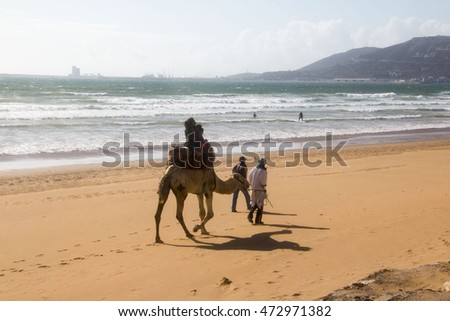 Morocco, Agadir - May 12, 2016: Beach in Agadir city in Morocco in 2016