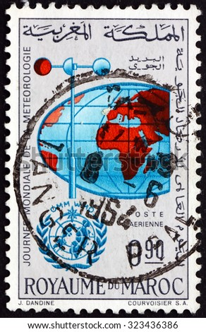 MOROCCO - CIRCA 1964: a stamp printed in Morocco shows Anemometer and Globe, circa 1964