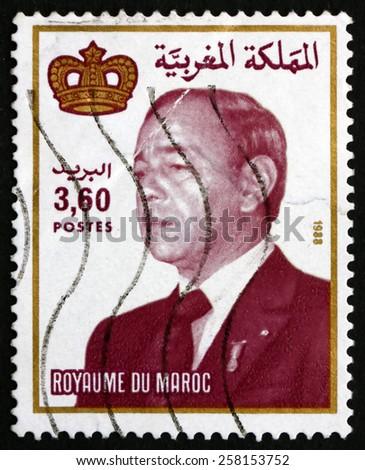 MOROCCO - CIRCA 1988: a stamp printed in Morocco shows Hassan II, King of Morocco, circa 1988 - stock photo