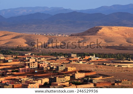Morocco. City Tinghir in the Atlas Mountains - stock photo