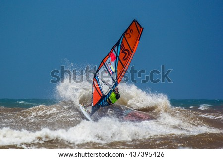 Morocco, Essaouira, Moulay Buzerktoun - May 15, 2016. American Windsurfing Tour competition. Windsurfer Diony Guadagnino