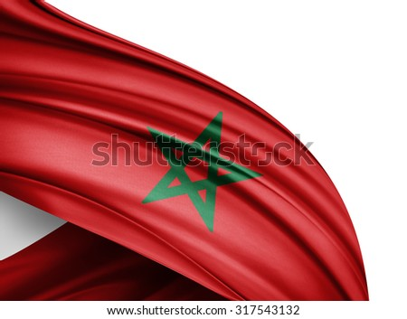 Morocco  flag of silk with copyspace for your text or images and white background - stock photo