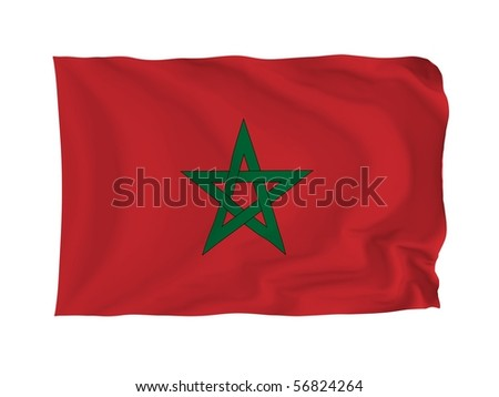 Morocco. High resolution African Flag series. With fabric texture.