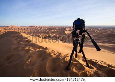 MOROCCO - JANUARY 10, 2014: A camera recording a time-lapse of the Sahara desert. - stock photo