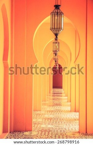 Morocco lamp architecture - vintage filter - stock photo