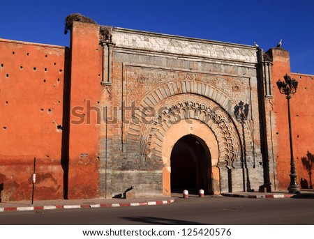 """Morocco Marrakesh """"Bab Agnaou"""" the most intricate of the medieval city gates - stock photo"""