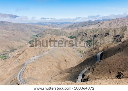 Morocco Mountain Road - this is the road that goes to Col du Tichka (pass of pature), a 2260 mts pass located  in the Atlas Mountains and links Marrakesh to Ouarzazarte