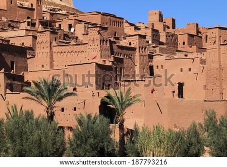 Morocco Ouarzazate - Ait Ben Haddou Medieval Kasbah built in adobe - UNESCO World Heritage Site. Location for many films - Gladiator, Babel, Alexander, Sheltering Sky, Sodom and Gamorah and the Mummy - stock photo