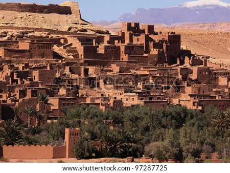 Morocco Ouarzazate  Ait Ben Haddou Medieval Kasbah built in adobe - UNESCO World Heritage Site. Location for many films - Gladiator, Babel, Alexander, Sheltering Sky, Sodom and Gamorah and The Mummy.