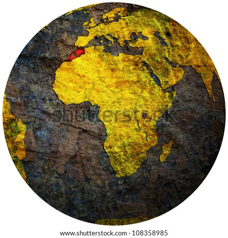 morocco territory with flag on map of globe