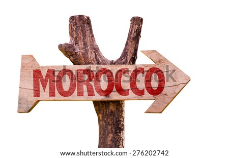 Morocco wooden sign isolated on white background - stock photo